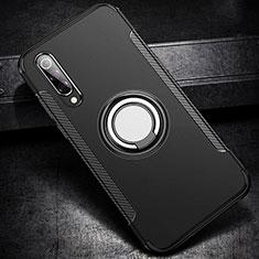 Funda Bumper Silicona y Plastico Mate Carcasa con Magnetico Anillo de dedo Soporte para Xiaomi Mi 9 Pro Negro