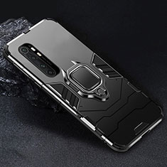 Funda Bumper Silicona y Plastico Mate Carcasa con Magnetico Anillo de dedo Soporte para Xiaomi Mi Note 10 Lite Negro