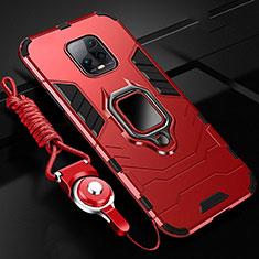 Funda Bumper Silicona y Plastico Mate Carcasa con Magnetico Anillo de dedo Soporte para Xiaomi Redmi 10X Pro 5G Rojo