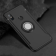 Funda Bumper Silicona y Plastico Mate Carcasa con Magnetico Anillo de dedo Soporte para Xiaomi Redmi 6 Pro Negro