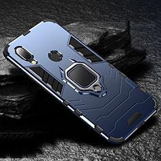 Funda Bumper Silicona y Plastico Mate Carcasa con Magnetico Anillo de dedo Soporte para Xiaomi Redmi 7 Azul