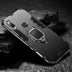 Funda Bumper Silicona y Plastico Mate Carcasa con Magnetico Anillo de dedo Soporte para Xiaomi Redmi 7 Negro