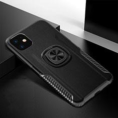 Funda Bumper Silicona y Plastico Mate Carcasa con Magnetico Anillo de dedo Soporte R01 para Apple iPhone 11 Negro