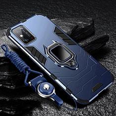 Funda Bumper Silicona y Plastico Mate Carcasa con Magnetico Anillo de dedo Soporte R01 para Huawei Honor X10 Max 5G Azul