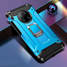 Funda Bumper Silicona y Plastico Mate Carcasa con Magnetico Anillo de dedo Soporte R01 para Huawei Mate 30 Pro 5G Azul