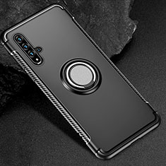 Funda Bumper Silicona y Plastico Mate Carcasa con Magnetico Anillo de dedo Soporte R01 para Huawei Nova 5T Negro