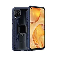 Funda Bumper Silicona y Plastico Mate Carcasa con Magnetico Anillo de dedo Soporte R01 para Huawei Nova 6 SE Azul