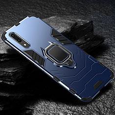 Funda Bumper Silicona y Plastico Mate Carcasa con Magnetico Anillo de dedo Soporte R01 para Huawei P20 Azul