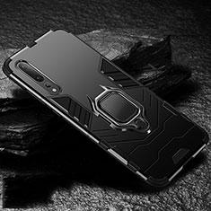 Funda Bumper Silicona y Plastico Mate Carcasa con Magnetico Anillo de dedo Soporte R01 para Huawei P20 Pro Negro