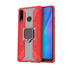 Funda Bumper Silicona y Plastico Mate Carcasa con Magnetico Anillo de dedo Soporte R01 para Huawei P30 Lite Rojo