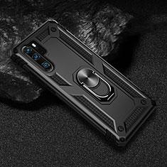 Funda Bumper Silicona y Plastico Mate Carcasa con Magnetico Anillo de dedo Soporte R01 para Huawei P30 Pro Negro
