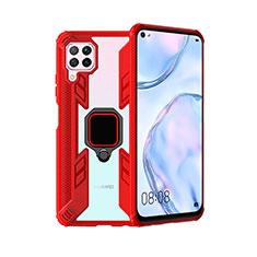 Funda Bumper Silicona y Plastico Mate Carcasa con Magnetico Anillo de dedo Soporte R01 para Huawei P40 Lite Rojo