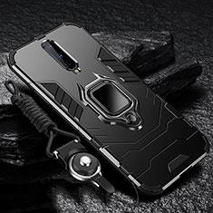 Funda Bumper Silicona y Plastico Mate Carcasa con Magnetico Anillo de dedo Soporte R01 para OnePlus 8 Negro