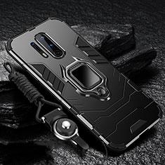Funda Bumper Silicona y Plastico Mate Carcasa con Magnetico Anillo de dedo Soporte R01 para OnePlus 8 Pro Negro