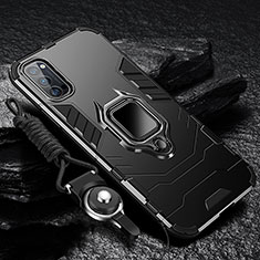 Funda Bumper Silicona y Plastico Mate Carcasa con Magnetico Anillo de dedo Soporte R01 para Oppo Reno4 5G Negro
