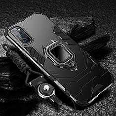 Funda Bumper Silicona y Plastico Mate Carcasa con Magnetico Anillo de dedo Soporte R01 para Oppo Reno4 Pro 5G Negro