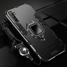 Funda Bumper Silicona y Plastico Mate Carcasa con Magnetico Anillo de dedo Soporte R01 para Realme X50 Pro 5G Negro
