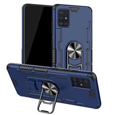 Funda Bumper Silicona y Plastico Mate Carcasa con Magnetico Anillo de dedo Soporte R01 para Samsung Galaxy A51 5G Azul