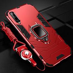 Funda Bumper Silicona y Plastico Mate Carcasa con Magnetico Anillo de dedo Soporte R01 para Samsung Galaxy A70 Rojo