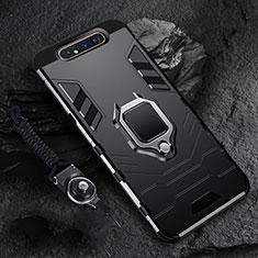 Funda Bumper Silicona y Plastico Mate Carcasa con Magnetico Anillo de dedo Soporte R01 para Samsung Galaxy A80 Negro