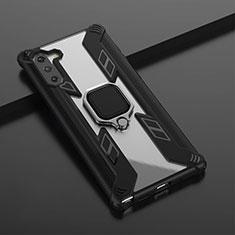 Funda Bumper Silicona y Plastico Mate Carcasa con Magnetico Anillo de dedo Soporte R01 para Samsung Galaxy Note 10 5G Negro