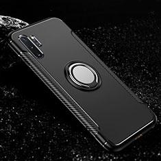 Funda Bumper Silicona y Plastico Mate Carcasa con Magnetico Anillo de dedo Soporte R01 para Samsung Galaxy Note 10 Plus 5G Negro
