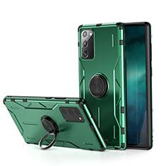 Funda Bumper Silicona y Plastico Mate Carcasa con Magnetico Anillo de dedo Soporte R01 para Samsung Galaxy Note 20 5G Verde