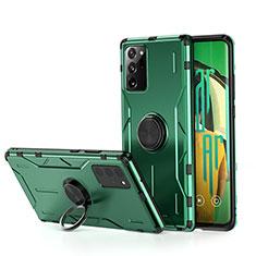 Funda Bumper Silicona y Plastico Mate Carcasa con Magnetico Anillo de dedo Soporte R01 para Samsung Galaxy Note 20 Ultra 5G Verde