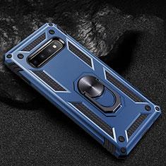 Funda Bumper Silicona y Plastico Mate Carcasa con Magnetico Anillo de dedo Soporte R01 para Samsung Galaxy S10 Azul