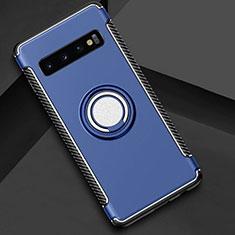 Funda Bumper Silicona y Plastico Mate Carcasa con Magnetico Anillo de dedo Soporte R01 para Samsung Galaxy S10 Plus Azul