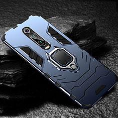 Funda Bumper Silicona y Plastico Mate Carcasa con Magnetico Anillo de dedo Soporte R01 para Xiaomi Mi 9T Pro Azul