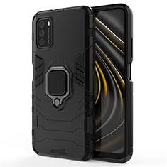 Funda Bumper Silicona y Plastico Mate Carcasa con Magnetico Anillo de dedo Soporte R01 para Xiaomi Poco M3 Negro