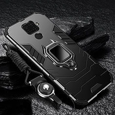 Funda Bumper Silicona y Plastico Mate Carcasa con Magnetico Anillo de dedo Soporte R01 para Xiaomi Redmi 10X 4G Negro