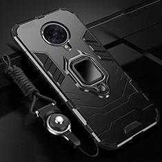 Funda Bumper Silicona y Plastico Mate Carcasa con Magnetico Anillo de dedo Soporte R01 para Xiaomi Redmi K30 Pro 5G Negro