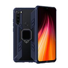 Funda Bumper Silicona y Plastico Mate Carcasa con Magnetico Anillo de dedo Soporte R01 para Xiaomi Redmi Note 8T Azul