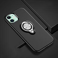 Funda Bumper Silicona y Plastico Mate Carcasa con Magnetico Anillo de dedo Soporte R02 para Apple iPhone 11 Negro
