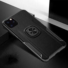 Funda Bumper Silicona y Plastico Mate Carcasa con Magnetico Anillo de dedo Soporte R02 para Apple iPhone 11 Pro Max Negro