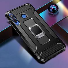 Funda Bumper Silicona y Plastico Mate Carcasa con Magnetico Anillo de dedo Soporte R02 para Huawei P30 Lite Negro