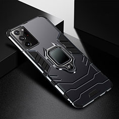 Funda Bumper Silicona y Plastico Mate Carcasa con Magnetico Anillo de dedo Soporte R02 para Samsung Galaxy Note 20 Ultra 5G Negro