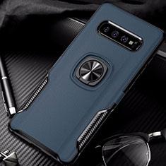Funda Bumper Silicona y Plastico Mate Carcasa con Magnetico Anillo de dedo Soporte R02 para Samsung Galaxy S10 Azul