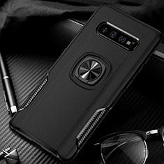 Funda Bumper Silicona y Plastico Mate Carcasa con Magnetico Anillo de dedo Soporte R02 para Samsung Galaxy S10 Plus Negro