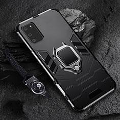 Funda Bumper Silicona y Plastico Mate Carcasa con Magnetico Anillo de dedo Soporte R02 para Samsung Galaxy S20 5G Negro