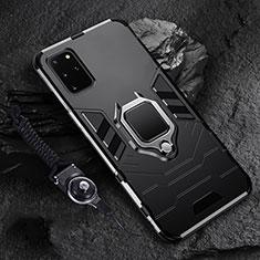Funda Bumper Silicona y Plastico Mate Carcasa con Magnetico Anillo de dedo Soporte R02 para Samsung Galaxy S20 Plus Negro