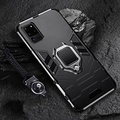 Funda Bumper Silicona y Plastico Mate Carcasa con Magnetico Anillo de dedo Soporte R02 para Samsung Galaxy S20 Ultra Negro