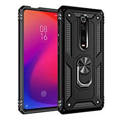 Funda Bumper Silicona y Plastico Mate Carcasa con Magnetico Anillo de dedo Soporte R02 para Xiaomi Mi 9T Pro Negro