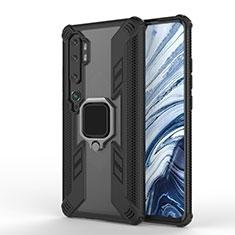 Funda Bumper Silicona y Plastico Mate Carcasa con Magnetico Anillo de dedo Soporte R02 para Xiaomi Mi Note 10 Negro