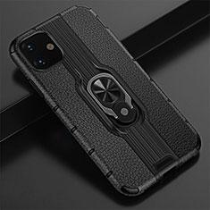 Funda Bumper Silicona y Plastico Mate Carcasa con Magnetico Anillo de dedo Soporte R03 para Apple iPhone 11 Negro