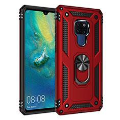 Funda Bumper Silicona y Plastico Mate Carcasa con Magnetico Anillo de dedo Soporte R03 para Huawei Mate 20 Rojo