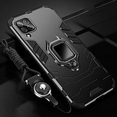 Funda Bumper Silicona y Plastico Mate Carcasa con Magnetico Anillo de dedo Soporte R03 para Huawei P40 Lite Negro