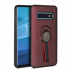Funda Bumper Silicona y Plastico Mate Carcasa con Magnetico Anillo de dedo Soporte R03 para Samsung Galaxy S10 Marron